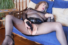 Solo Playtime in Black Fishnet